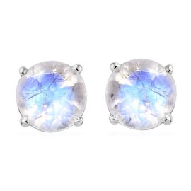 Rainbow Moonstone (Rnd 7 mm) Stud Earrings (with Push Back) in Platinum Overlay Sterling Silver 2.75