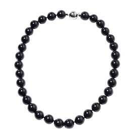 Black Tourmaline (Rnd 13-15 mm) Beads Necklace (Size 20) with Magnetic Lock in Rhodium Overlay Sterl