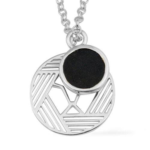 GP Black Tourmaline (Rnd), Blue Sapphire Pendant with Chain (Size 26) in Platinum Overlay Sterling S