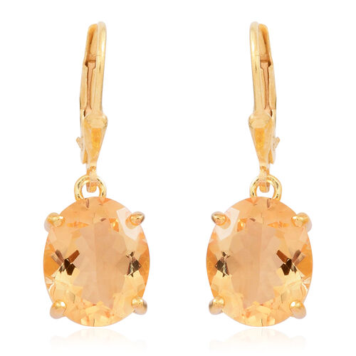 Rare AAA Uruguay Citrine (Ovl) Lever Back Earrings in 14K Gold Overlay Sterling Silver 8.000 Ct.