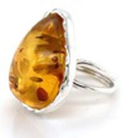 Natural Baltic Amber Ring in Sterling Silver