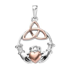 Platinum and Rose Gold Overlay Sterling Silver Irish Celtic Claddagh Pendant