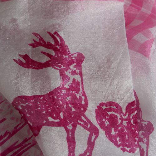 Last Chance - 100% Mulberry Silk Pink and White Colour Deer Pattern Pareo (Size 180x100 Cm)
