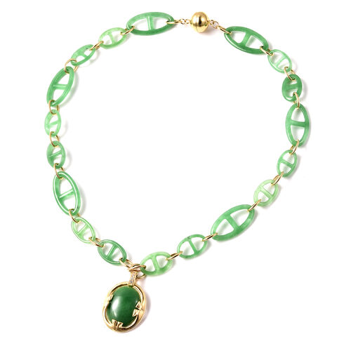 Green Jade and Natural Cambodian Zircon Necklace (Size 18) in Yellow Gold Overlay Sterling Silver 62