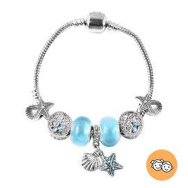 Charms Bracelet for Children in Simulated Blue Colour Bead, Blue and White Austrian Crystal Size 6.5