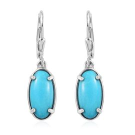 Arizona Sleeping Beauty Turquoise (Ovl 14x7mm) Lever Back Earrings in Platinum Overlay Sterling Silv