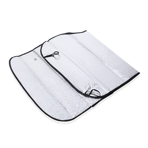 Set of Windshield Cover (size 128x60 Cm) and Telescoping Snow Scraper (Size 61 Cm and 86 Cm Extends) Silver, Black and Blue Colour