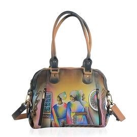 SUKRITI, Meaning Beautiful Creation -  100% Genuine Leather Brown and Multi Colour Egyptian Handpainted Shoulder Convertible Large Tote Handbag ( Size 31 X 11X 28 cm )