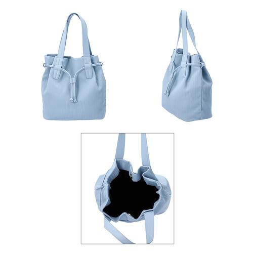 Stripe Pattern Drawstring Handbag with Magnetic Closure (Size 27x15x30 Cm) - Light Blue