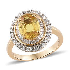 Collectors Edition - ILIANA 18K Yellow Gold  Loupe Clean AAA Yellow Sapphire (Rare Size Ovl 9x7mm, 2.25 Ct) and Diamond (SI/G-H) Ring 2.750 Ct. Gold wt 5.31 Gms.