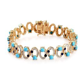 AA Arizona Sleeping Beauty Turquoise Enamelled Infinity Bracelet (Size 7.5) in 14K Gold Overlay Ster