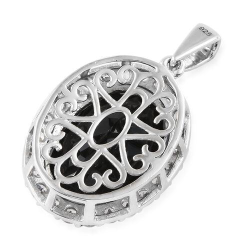 Black Tourmaline (Ovl 11.00 Ct), Natural Cambodian Zircon Pendant in Platinum Overlay Sterling Silver 12.750 Ct.