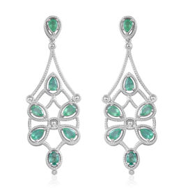 Designer Inspired - Kegem Zambian Emerald (Pear) Chandelier Earrings (with Push Back) in Rhodium Plated Sterling Silver 5.650 Ct. Silver wt. 13.00 Gms.