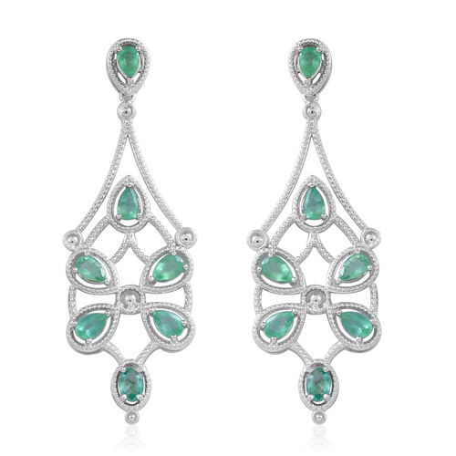 5.65 Ct Kegem Zambian Emerald Chandelier Earrings in Rhodium Plated Silver 13 grams