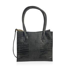 Limited Collection Croc Embossed 100% Genuine Leather Black Colour Handbag with Removable Shoulder S