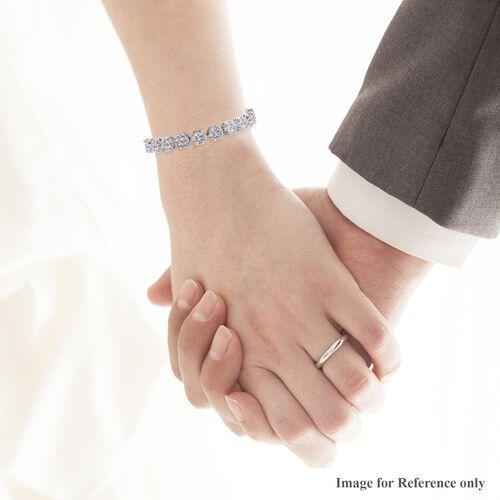 J Francis - Platinum Overlay Sterling Silver Bracelet (Size 7.5) Made with SWAROVSKI ZIRCONIA 20.11 Ct, Silver wt 17.15 Gms