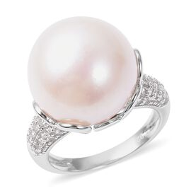 Edison Pearl and White Cambodian Zircon Ring in Rhodium Plated Sterling Silver