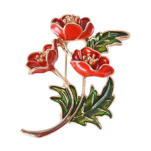 TJC Poppy Design -Poppy Flower Bunch Design Enamelled Brooch in Gold Tone