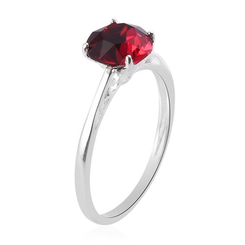 3 Piece Set - J Francis Crystal from Swarovski Ruby Colour Crystal Solitaire Ring, Stud Earrings (with Push Back) and Pendant in Sterling Silver