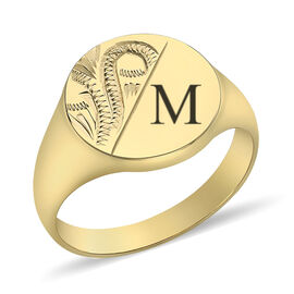 Personalised Engravable 9ct yellow gold round pattern signet ring