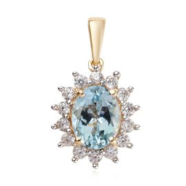 2.35 Ct AA Espirito Santo Aquamarine and Zircon Halo Pendant in 9K Yellow Gold