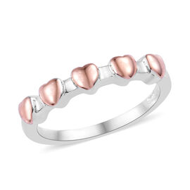Platinum and Rose Gold Overlay Sterling Silver Heart Ring
