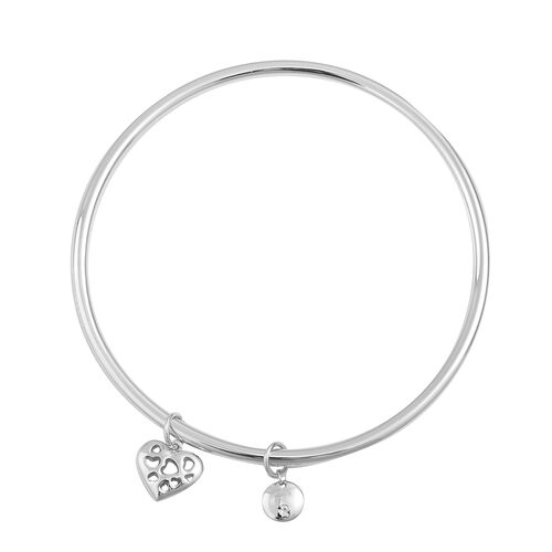 RACHEL GALLEY Rhodium Plated Sterling Silver Lattice Heart and Disc Charm Bangle (Size 8), Silver wt