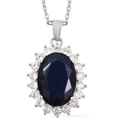 Cocktail Collection - Simulated Tanzanite Ring Earrings (with Push Back) and Pendant with Chain (Size 20 with 2 inch Extender)