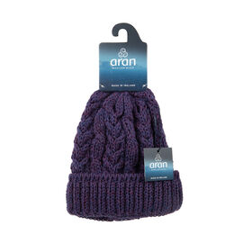ARAN 100% Pure New Wool Irish Hat in Purple Colour (One Size)