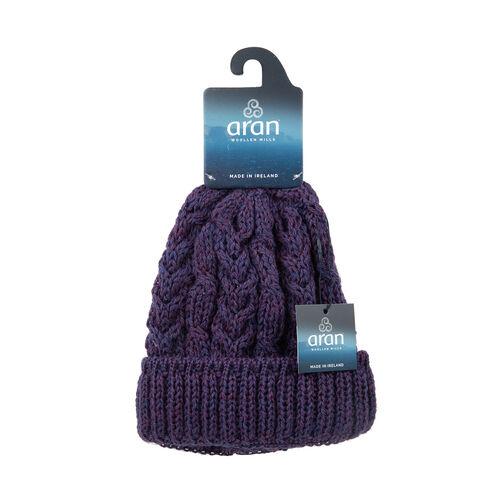 ARAN 100% Pure New Wool Irish Hat in Purple Colour (One Size)