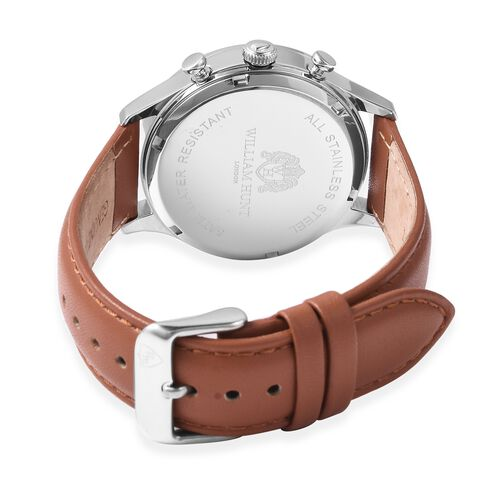 Super Auction - WILLIAM HUNT Japanese Movement Water Resistance Watch in Stainless Steel with Tan Leather Strap
