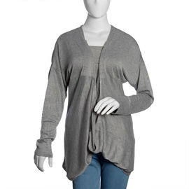 Grey Colour Cow Neck Pattern Cardigan (Large / Xtra Large)