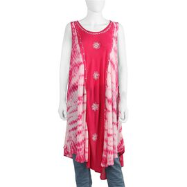 Sequin Embellished Tie-Dye Umbrella Dress with Two Side Pockets (One Size; L=105 Cm) - Fuchsia