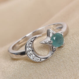 GP AA Grandidierite (Rnd), Natural Cambodian Zircon and Blue Sapphire Crescent Moon and Star Ring in