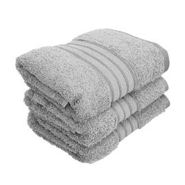 Set of 3 - Egyptian Cotton Terry Hand Towel - Silver Grey