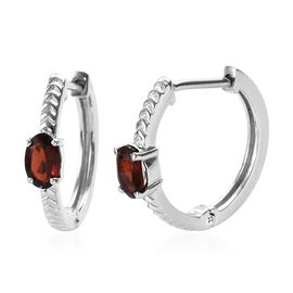 Mozambique Garnet (Ovl) Hoop Earrings (with Clasp) in Platinum Overlay Sterling Silver 1.00 Ct.