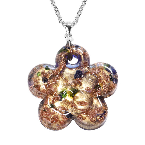 Blue Murano Style Glass Flower Pendant with Chain (Size 24) in Rhodium Overlay Sterling Silver and S