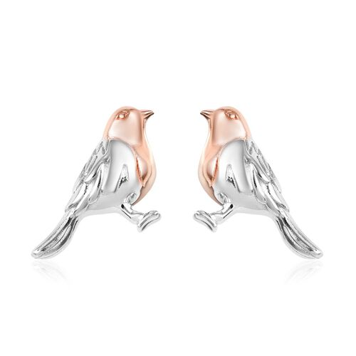 The National Bird - Rose Gold and Platinum Overlay Sterling Silver Robin Stud Earrings (with Push Ba