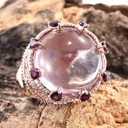 Rose De France Amethyst (Rnd 24.00 Ct), Rhodolite Garnet Ring in Rose Gold Overlay Sterling Silver 25.500 Ct. Silver wt. 10.50 Gms.