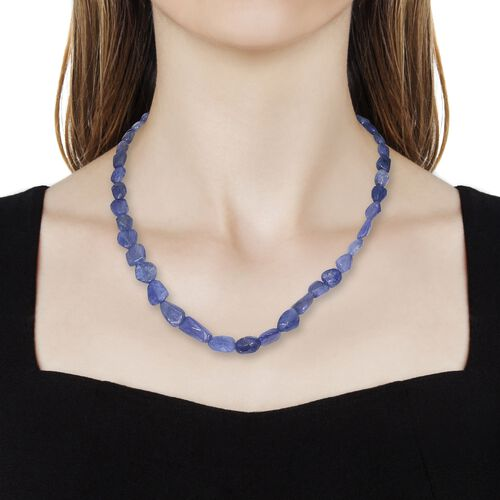One Time Deal-Tanzanite Necklace (Size 18) with Lobster Lock in Platinum Overlay Sterling Silver 157.500 Ct.