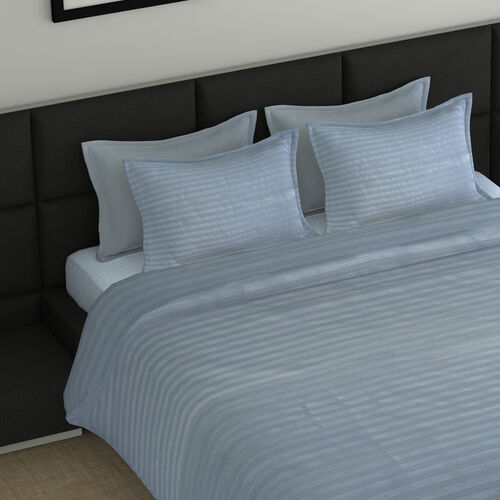 7 Piece Bedding Set - Includes: 1 Duvet with Duvet Cover, 2 Pillows with Pillow Covers And 1 Fitted Bedsheet - Grey Blue (Double)