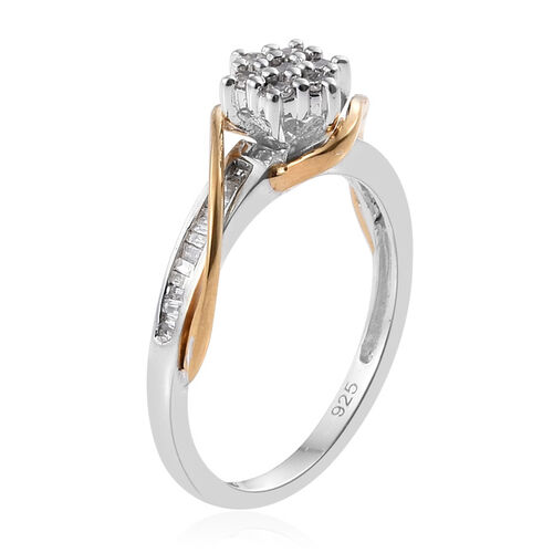 Diamond (Rnd) Floral Ring in Platinum and Yellow Gold Overlay Sterling Silver 0.250 Ct.