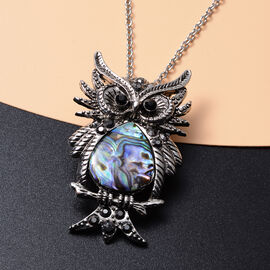 Abalone Shell, Black Austrian Crystal and Simulated Grey Spinel Owl Pendant with Chain (Size 20 with 2 inch Extender) in Silver Tone