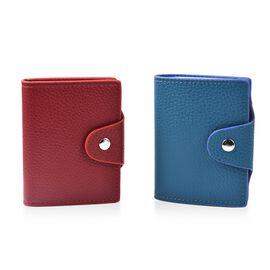 DOD - Set of 2 - Leather Credit Card Holder (Size 10x8 Cm) - Burgundy and Teal