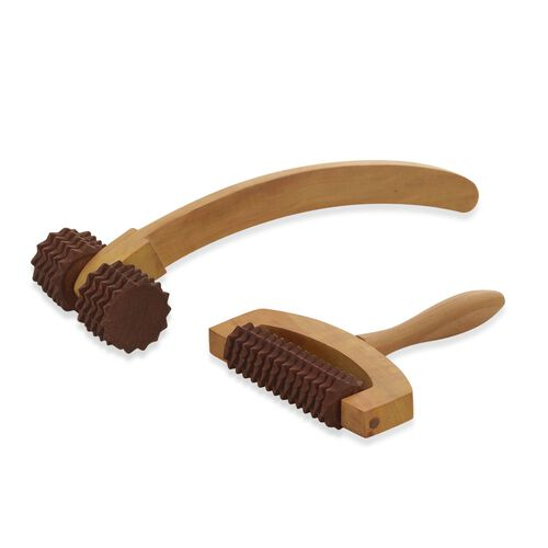 (Option 2) Set of 2 - Wooden Long (Size 30x10 Cm) and Small Hand Massager (Size 17x14 Cm)