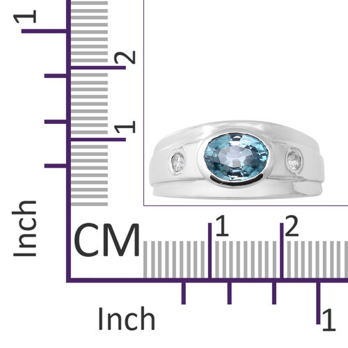 Ratanakiri Blue Zircon and Natural Cambodian Zircon Ring in Rhodium Overlay Sterling Silver 2.12 Ct.