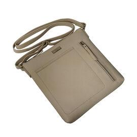 Assots London EDITH 100% Genuine Leather Pebble Grain Crossbody Bag Off White