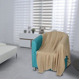 75% Natural Cashmere Wool Wave Design Throw Blanket  (Size 260x140 Cm) -  Cream