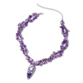 1100 Ct Amethyst Beaded Chips Necklace Size 18 with 4 inch Extender