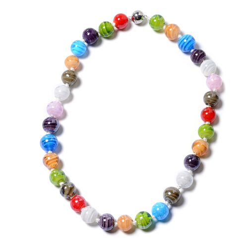 2 Piece Set - Multi Colour Murano Glass Beads Necklace (Size 20) and Bracelet (Size 7) in Stainless Steel